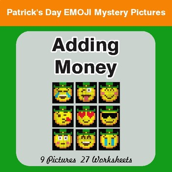 St. Patrick's Day: Adding Money - Color-By-Number Mystery Pictures