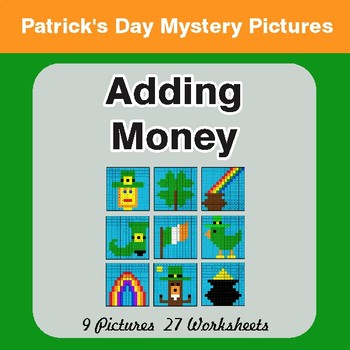 St. Patrick's Day: Adding Money - Color-By-Number Math Mystery Pictures
