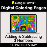 St. Patrick's Day: Adding & Subtracting 3 Numbers - Digita