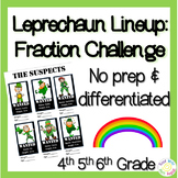 St. Patrick's Day 5th grade Fraction Challenge: Leprechaun Lineup