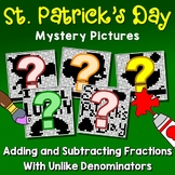 Adding & Subtracting Fractions With Unlike Denominators Pictures Mystery Sheets