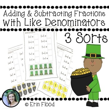 St. Patrick's Day Adding and Subtracting Fractions with Like Denominators Sorts