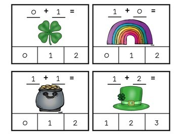 St. Patrick's Day Adding to Ten Clip Cards