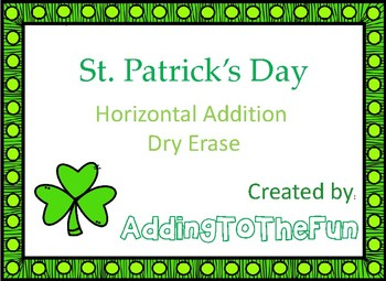 St. Patrick's Day -  Addition Dry Erase Cards