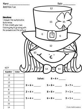 St. Patrick's Day Addition Fact Practice!  Color by Number with a Twist!