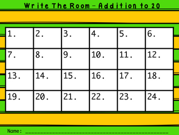 St. Patrick's Day Addition Facts to 20 Write the Room GAME!