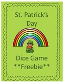 St. Patrick's Day Addition Game Freebie