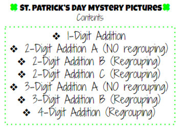 St. Patrick's Day Addition Mystery Puzzles