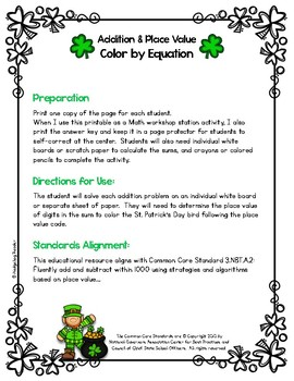 St. Patrick's Day Addition & Place Value Color by Equation - No Prep