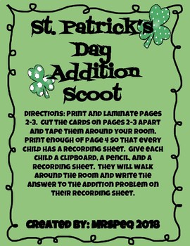 St. Patrick's Day Addition Scoot