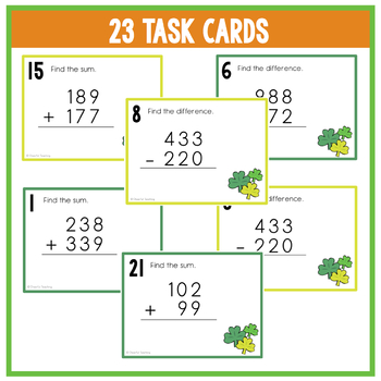 St. Patrick's Day Addition & Subtraction Task Cards