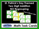 St. Patrick's Day Addition Task Cards: Double Digit, NO Re