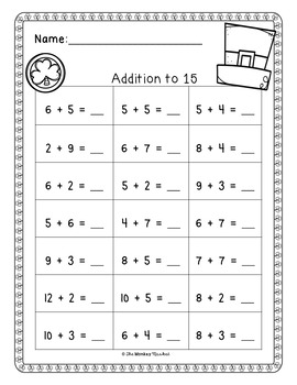 St. Patrick's Day Addition Worksheets