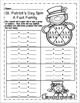 St. Patrick's Day Addition and Subtraction Color by Number
