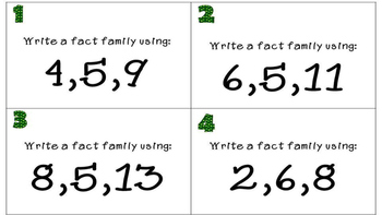 St. Patrick's Day Addition and Subtraction Fact Family Task Cards