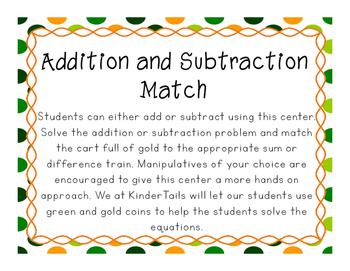 St. Patrick's Day Addition and Subtraction Train Match