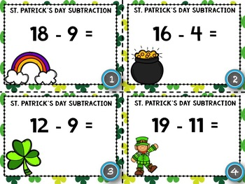 St. Patrick's Day Addition and Subtraction Within 20 - St. Patrick's Activity