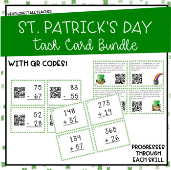 St. Patrick's Day Addition and Subtraction with Regrouping Task Cards