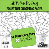 St Patrick's Day Algebraic Expressions & Equations Coloring Pages