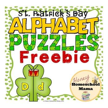 St. Patrick's Day Alphabet Puzzles Freebie - 26 Puzzles