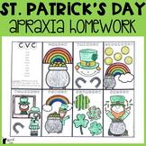 St. Patrick's Day Apraxia Homework