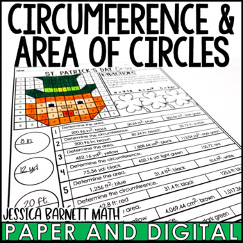 St. Patrick's Day Math Activity: Area and Circumference of a Circle Review