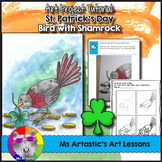 St. Patrick's Day Art Lesson, Bird with Shamrock