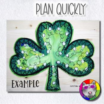 St. Patrick's Day Art Project, Shamrock Line Art, Mixed Media