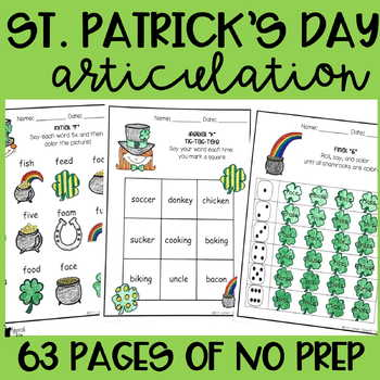 St. Patrick's Day Articulation Activities ALL SOUNDS