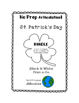 St. Patrick's Day Articulation BUNDLE - NO PREP [BW] k/g/f/s/blends/sh/ch/l/th/r