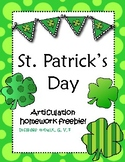 St. Patrick's Day Articulation Freebie!