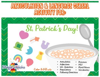 St. Patrick's Day Articulation & Language Cereal Activity