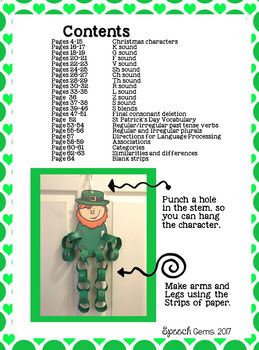 St. Patrick's Day Articulation & Language Leprechaun Craft