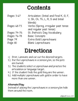 St. Patrick's Day Articulation and Language Activity