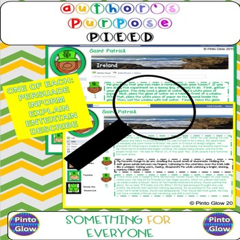St. Patrick's Day Author's Purpose Activity Decode St. Patrick's Facebook!