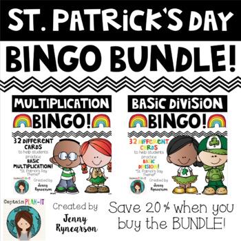 St. Patrick's Day BINGO Bundle! Multiplication & Division Facts!