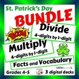 St. Patrick's Day BUNDLE, 68 Digital CARDS, Grades 4-5
