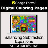 St. Patrick's Day: Balancing Subtraction Equations - Digit