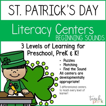 St. Patrick's Day Beginning Sounds Centers for Preschool, PreK, K & Homeschool