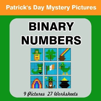 St. Patrick's Day: Binary Numbers - Mystery Pictures / Color By Number
