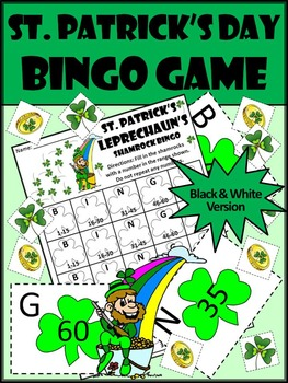 St. Patrick's Day Games Activities: St. Patrick's Day Bingo Math Game Activity
