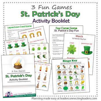 St. Patrick's Day Bingo, Card and 4 Corner Game Activity Booklet