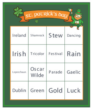 St. Patrick's Day Bingo Cards (31) + Craft + Puzzles / Fillers