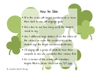St. Patrick's Day Bingo Dotter Articulation Activity