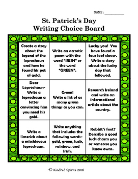 St. Patrick's Day Writing Choice Board