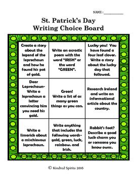 St. Patrick's Day Writing Choice Board