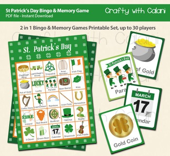 St Patrick's Day Bingo & Memory Game, St Patick's Day Printable Bingo & Memory