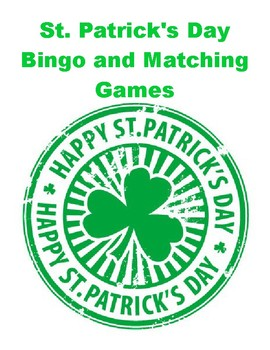 St. Patrick's Day Bingo and Matching Games