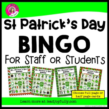 St. Patrick's Day Bingo for Staff or Students (Principals