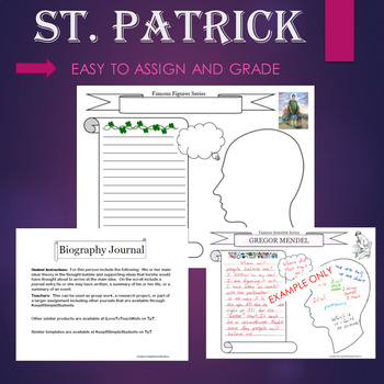 St Patrick's Day Biography Graphic Organizer Interactive Journal